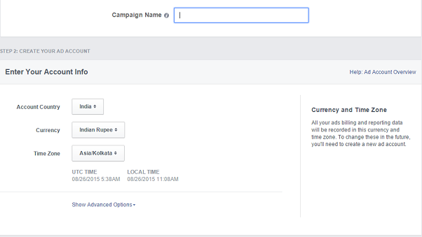 facebook remarketing campaign - account info