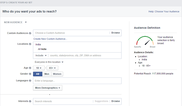 facebook remarketing campaign - adset setup