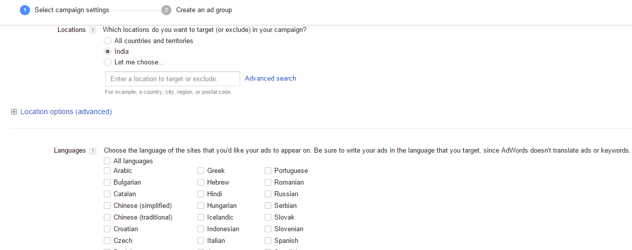 google adwords campaign location and languages settings