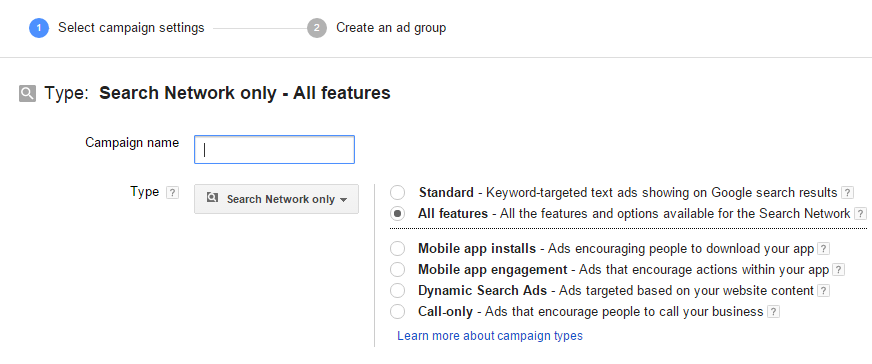 google adwords campaign tutorial - campaign name and type