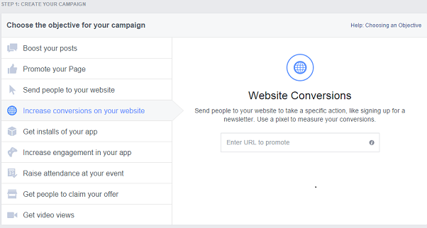 facebook remarketing campaign - campaign objective