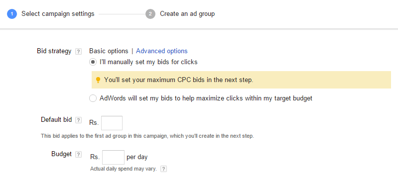 google adwords campaign cpc budget settings