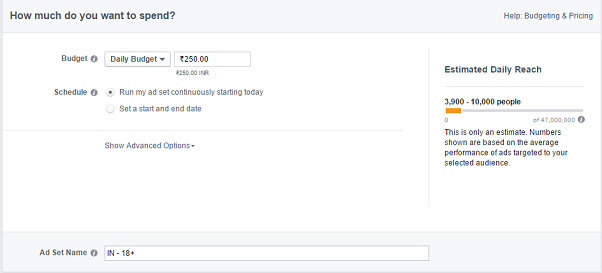 facebook remarketing campaign - daily budget