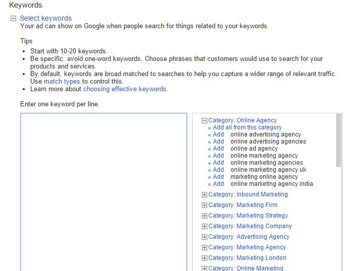 Google adwords campaign tutorial - ad keyword selection