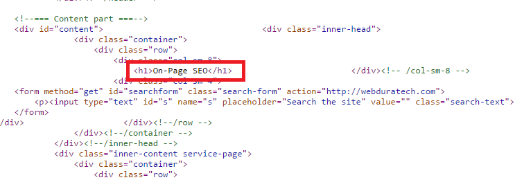 on page seo checklist for 2016- On page seo heading tags