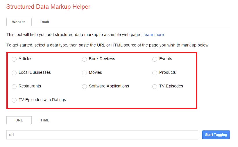 using google structured data markup helper - data types in website