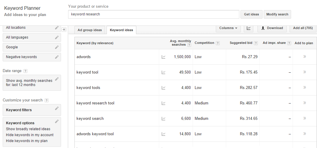 SEO Keyword Research - Google Adwords Keyword Planner Keyword Ideas