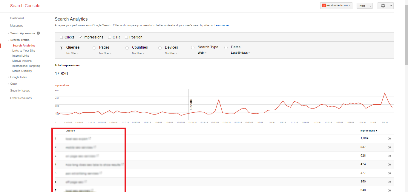 SEO Keyword Research - Google Search Console Queries