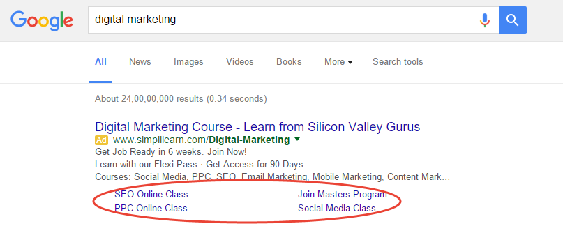 PPC Ad Copy best practices for writing ad copy - Sitelinks and Extensions in Ads