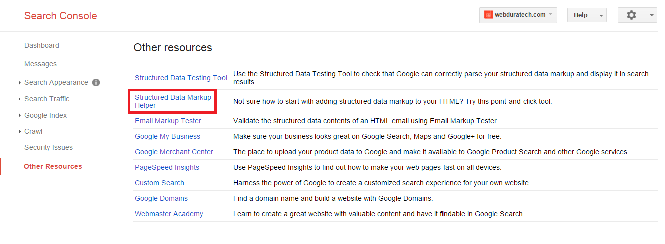 Google's structured data markup helper in Search Console