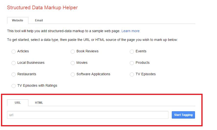structured data markup helper - Url Tagging