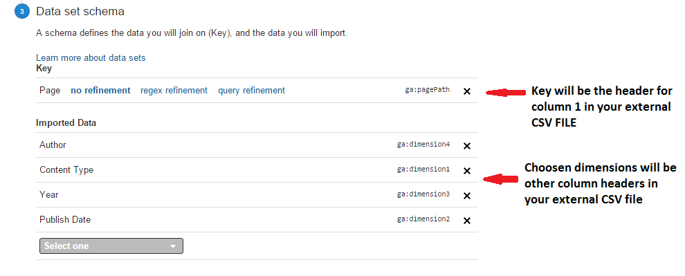 importing external data to google analytics - key and imported data
