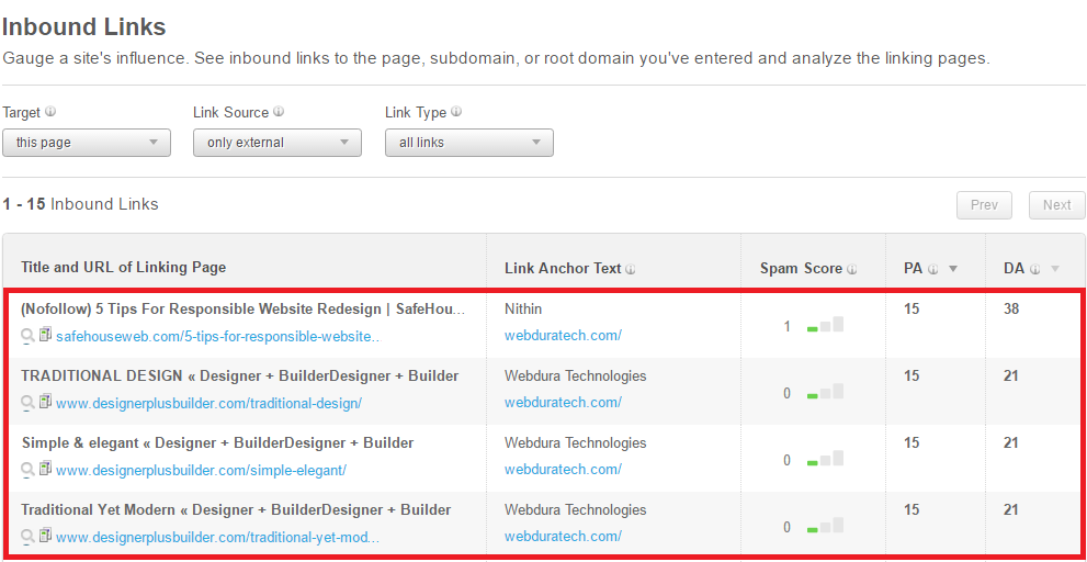 website competitor analysis - competitor's backlink profile